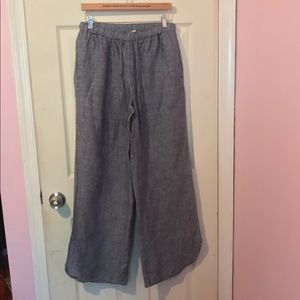 100% linen drawstring wide leg pants scoop hem